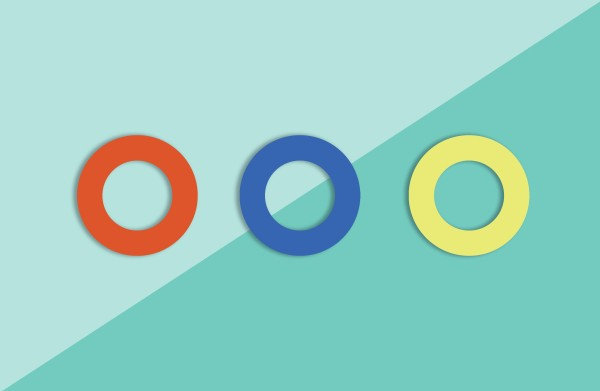 3er Pack Gummis, orange, blau, gelb