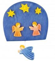 Wandspieluhr Engel bunt bemalt