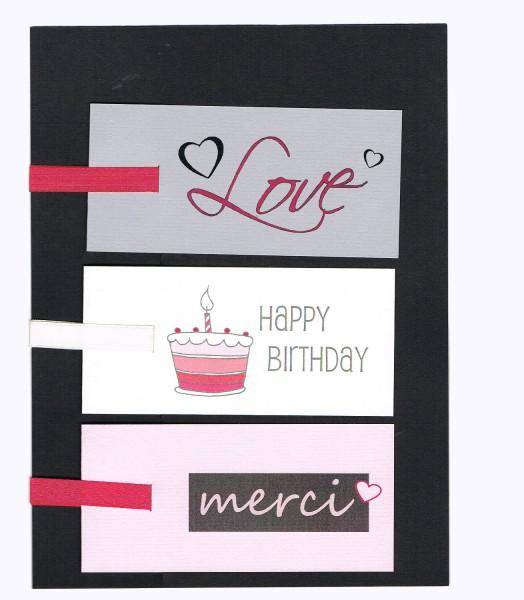 Geschenkanhänger `´ Love, Merci, Happy Birthday´´